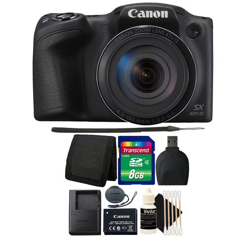 Canon PowerShot SX420 IS Digital Camera Black with Accessory Bundle