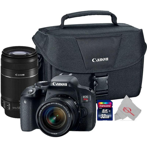 Canon EOS Rebel T7i 24.2MP Digital SLR Camera + Canon 18-55mm + 55-250 IS II Complete Basic Lens  Kit