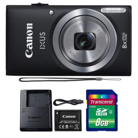 Canon IXUS 185 / ELPH 180 20MP Digital Camera Black with 8GB Accessory Kit