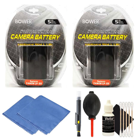 2 LP-E6 Replacement Battery with Cleaning Kit