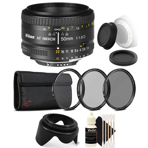 Nikon AF NIKKOR 50mm f/1.8D Lens for Nikon DSLR Cameras with Accessory Kit