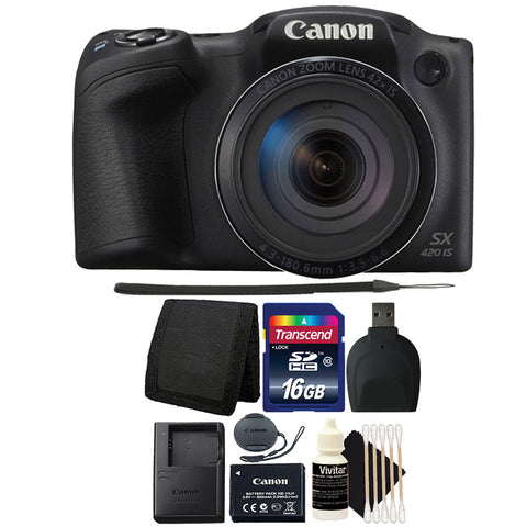 Canon PowerShot SX420 IS 20MP Digital Camera 42x Optical Zoom with Accessory Kit
