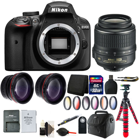 Nikon D3400 DSLR Camera with 18-55mm Lens and Accessory Kit
