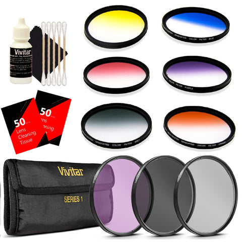 Vivitar 52mm Multi Coated Graduated Filter Kit with Top Accessory Kit for NIKON D3300 D3200 D3100 D3000 D5300 D5200 D5100 D7100 DSLR Camera