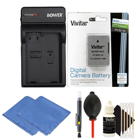 EN-EL14 Replacement Battery with Charger and Cleaning Kit