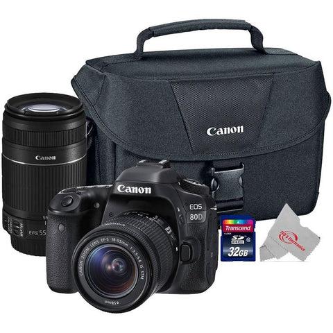 Canon EOS 80D 24.2MP Digital SLR Camera + Canon 18-55mm + 55-250 IS II Complete Basic Lens  Kit