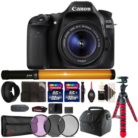 Canon EOS 80D 24.2MP DSLR Camera with 18-55mm Lens , 298 LED Light and Accessory Kit