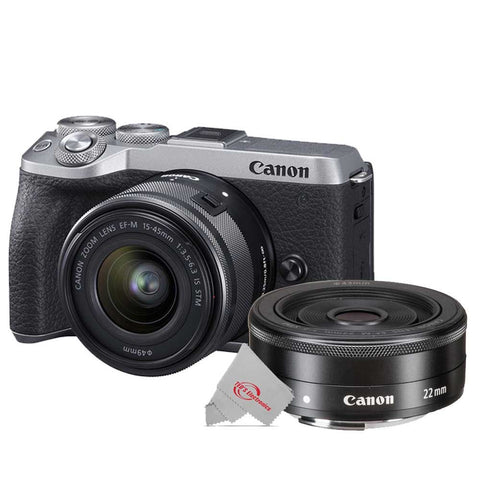 Canon EOS M6 Mark II 32.5MP Mirrorless Digital Camera Silver with 15-45mm Lens + EF-M 22mm f2 STM Lens