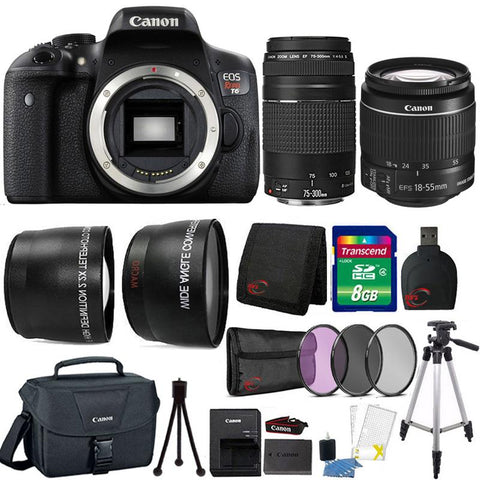 Canon EOS Rebel T6 18MP Built-In WIFI DSLR Camera 18-55mm Lens , 75-300mm Lens , Canon 100ES Case and 8GB Ultimate Accessory Kit