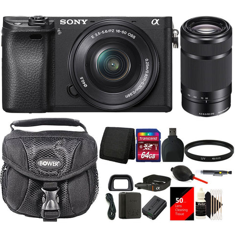 Sony ILCE-6300 a6300 4K Mirrorless Digital Camera 16-50mm & 55-210mm Zoom Lens Bundle