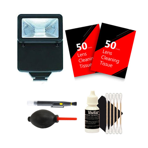 Slave Flash with Cleaning Accessory Kit for Canon and Nikon Cameras