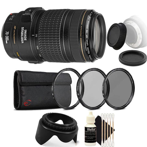 Canon EF 70-300mm f/4-5.6 IS USM Lens with Accessory Kit for Canon T6 , T6i and T7i