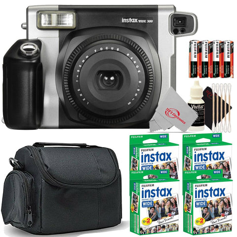 FUJIFILM INSTAX Wide 300 Instant Film Camera (Black) with 4 Pack Fujifilm Instax WIDE 2X10 Film Kit