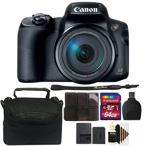 Canon PowerShot SX70 HS Digital Camera + 64GB Memory Card + Card Holder + Card Reader + Camera Case + 3pc Cleaning Kit