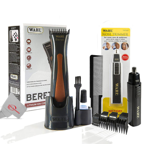 Wahl Professional Beret Lithium Ion Cord/Cordless Trimmer + Wahl Professional Nose Trimmer