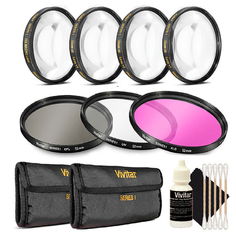 Vivitar 67mm Filter Kit + Macro Kit + 3pc Cleaning Kit for 67mm Lenses Kit for Canon 18-135, Nikon 18-140, and Nikon 18-105 Lenses