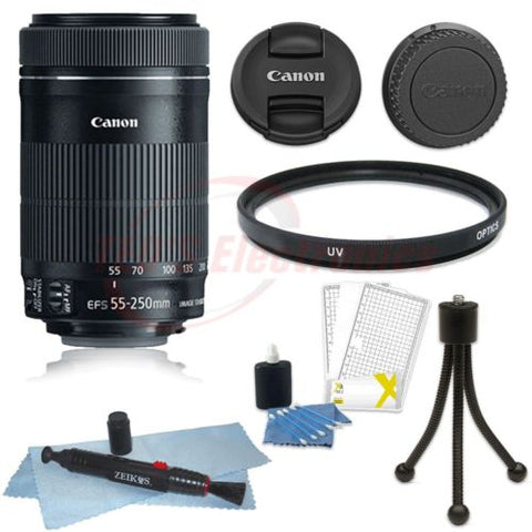 Canon EF-S 55-250mm F4-5.6 IS STM Lens with Accessories for Canon T5i , T6 , T6i and T7i