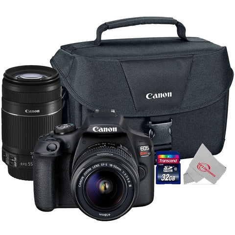 Canon EOS Rebel T7 24.1MP Digital SLR Camera + Canon 18-55mm + 55-250 IS II Complete Basic Lens  Kit