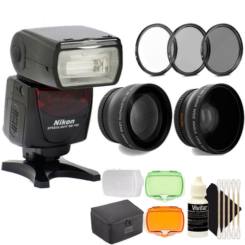 Nikon SB-700 AF Speedlight Hot Shoe Mount Flash for Nikon DSLR Cameras with Telephoto and Wideangle Lenses, UV CPL and ND8 Filter Set and More