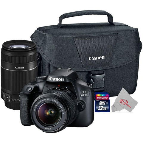 Canon EOS 4000D Rebel T100 18MP Digital SLR Camera + Canon 18-55mm + 55-250 IS II Complete Basic Lens  Kit