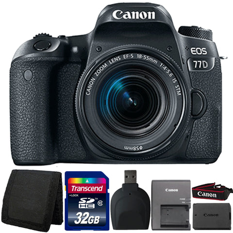 Canon EOS 77D 24.2MP DSLR Camera with 18-55mm Lens and Accessories