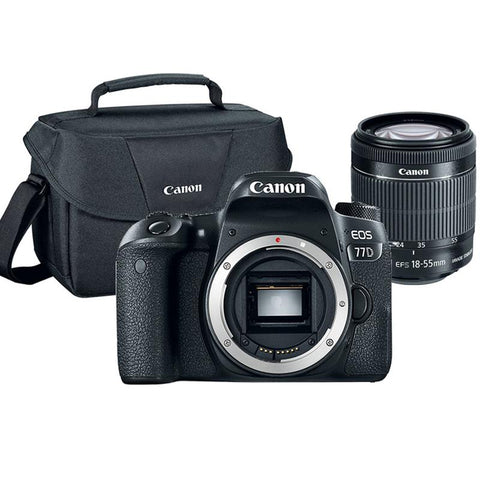 Canon EOS 77D 24.2MP Built-In WIFI DSLR Camera with 18-55mm Lens and Canon 100ES Case
