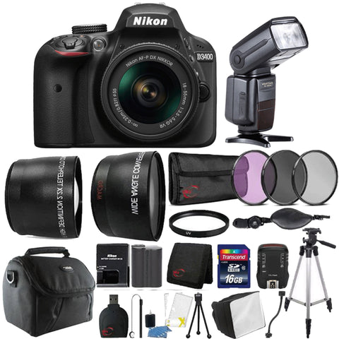 Nikon D3400 24.2MP DSLR Camera with 18-55mm Lens, Speedlight Flash and 15 Piece Kit