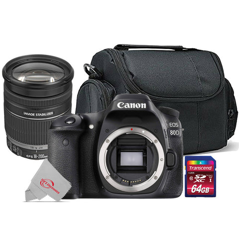 Canon 80D 24.2MP Built-in Wi-Fi DSLR Camera + Canon EF-S 18-200mm f/3.5-5.6 IS Lens Kit