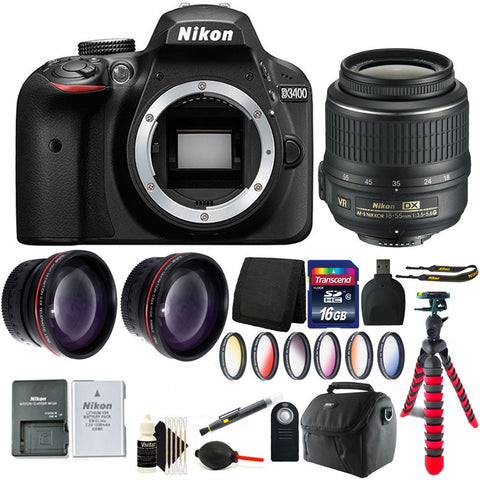 Nikon D3400 Digital SLR Camera with 18-55mm Lens and Great Value Kit