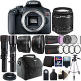 Canon EOS Rebel T7 DSLR Camera + 18-55mm + 500mm + 650-1300mm Lens + 58mm 3pc Filter Kit + Macro Kit + Wide Angle & Telephoto Lens + T-Mount + 32GB Memory Card + Gadget Bag + Lens Cap Holder + Remote Control + Card Reader + Wallet + Slave Flash