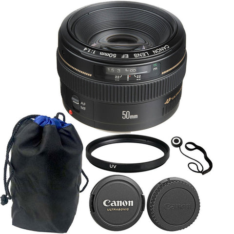 Canon EF 50mm f/1.4 USM Autofocus Lens + Accessory Bundle for Canon SLR Cameras