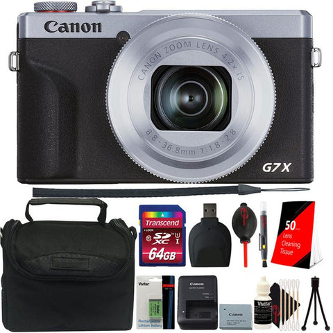 Canon PowerShot G7 X Mark III Full HD 120p Video Digital Camera - Silver Accessory Kit + Extra Battery
