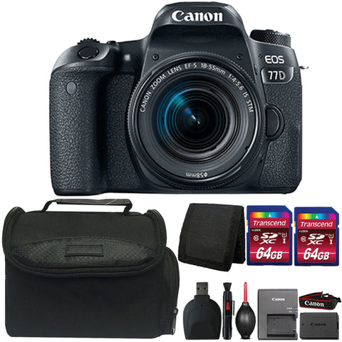 Canon EOS 77D 24.2MP Digital SLR Camera with 18-55mm IS STM Lens and Accessory Kit