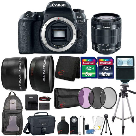 Canon EOS 77D 24.2MP DSLR Camera with 18-55mm Lens , Canon 100ES Case and 24GB Accessory Kit