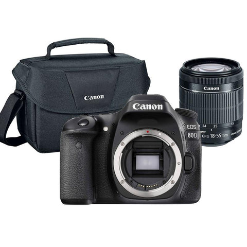 Canon EOS 80D 24.2MP Built-In WIFI DSLR Camera with 18-55mm Lens and Canon 100ES Case