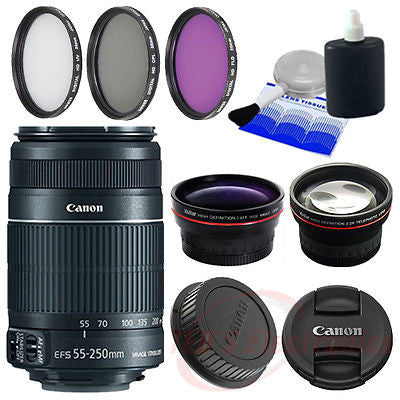 Canon EF-S 55-250mm IS II Canon DSLR SLR Lens w/ 58mm Lens attachments & More