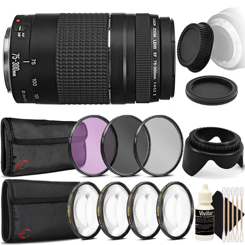 Canon EF 75-300mm f/4-5.6 III Lens with Accessory Kit For Canon T5i , T6 , T6i and T7i