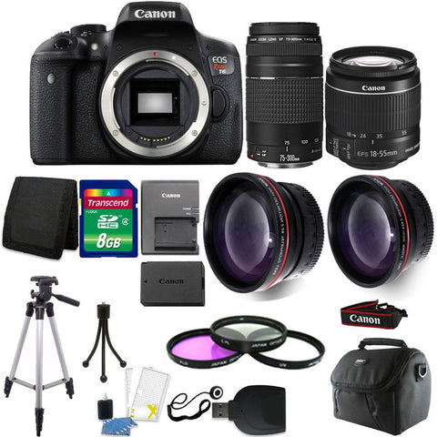 Canon EOS Rebel T6 DSLR Camera with 18-55mm Lens , 75-300mm Lens and Accessories