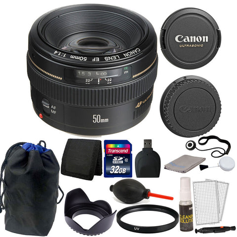 Canon EF 50mm f/1.4 USM Autofocus Lens + 32GB Accessories for T2i T3i C100 XTI