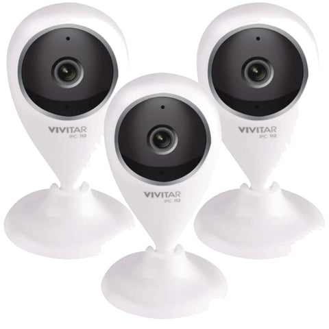 Three Vivitar IPC-112 Smart Security Wi-Fi Capture Cameras