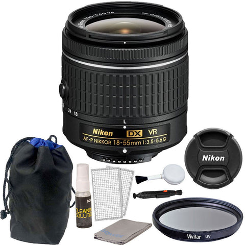 Nikon 18-55mm f/3.5 - 5.6G VR AF-P DX Nikkor Lens for Nikon D5500 DSLR Camera