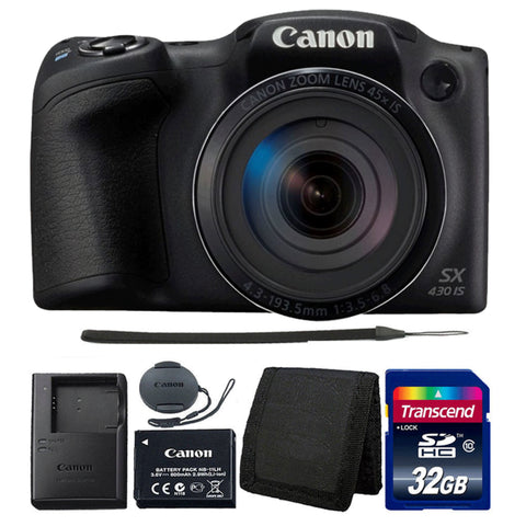 Canon PowerShot SX430 IS Digital Camera Black with Accessory Bundle