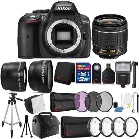 Nikon D5300 24.2MP DSLR Camera with 18-55mm Lens and 32GB Accessory Kit