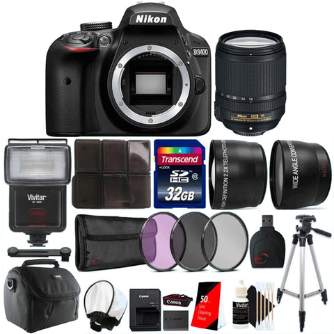 Nikon D3400 24.1MP DSLR Camera with 18-140mm VR Lens and Top Accessory Kit