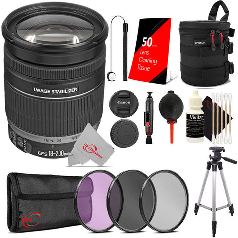 Canon EF-S 18-200mm f/3.5-5.6 IS Standard Zoom Lens + Filter Accessory Kit