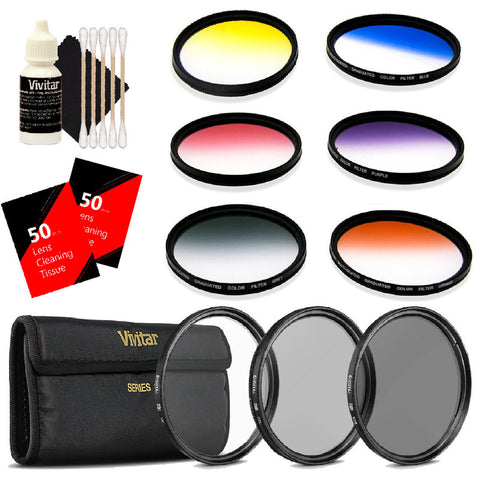 Vivitar 67mm Rotating Graduated 6pc Filter with Top Accessory Bundle Kit for Canon 18-135, Nikon 18-140, and Nikon 18-105 Lenses