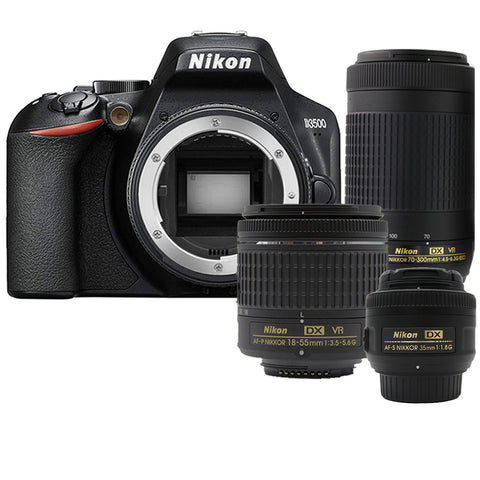 Nikon D3500 24.2MP Digital SLR Camera +  Nikon 18-55mm AF-P Lens + 35mm 1.8G Lens + 70-300mm Lens