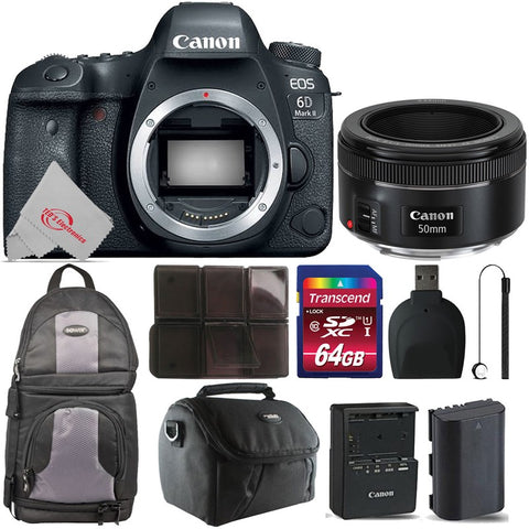 Canon EOS 6D Mark II Built-in Wi-Fi Digital SLR Camera with 50mm f1.8STM Lens Accessory Kit