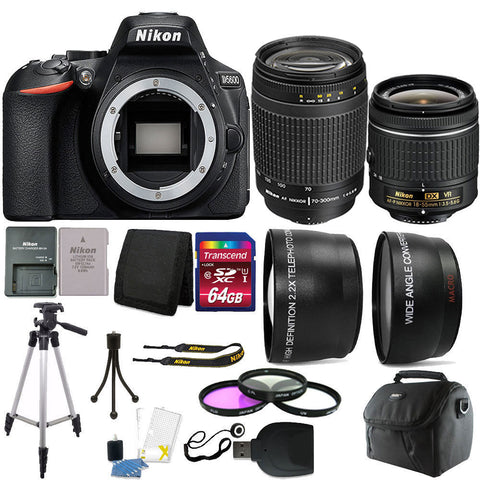 Nikon D5600 24.2MP Digital SLR Camera with 18-55mm VR Lens , 70-300mm Lens and 64GB Accessory Kit