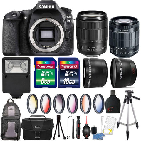 Canon EOS 80D 24.2MP DSLR Camera with 18-55mm Lens , 18-135mm IS USM Lens and Accessory Kit